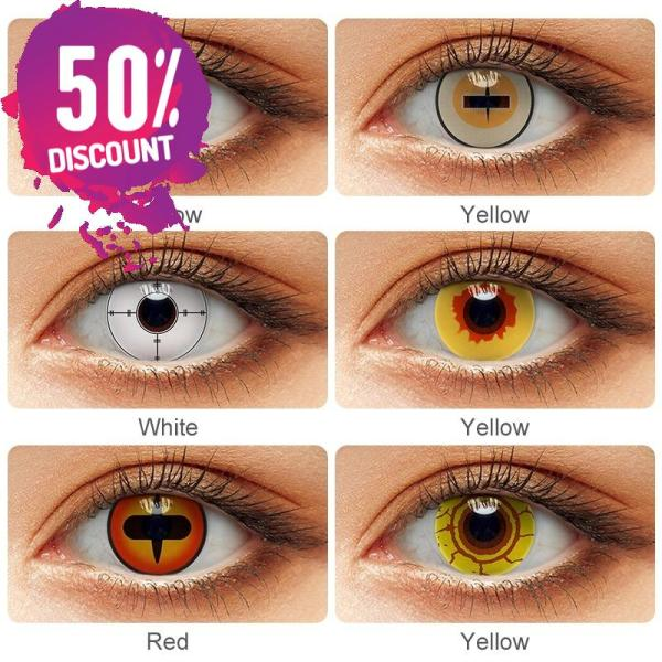 Vampire Fire Yellow Eye Contact Lenses For Cosplay Halloween Anime Eyes-1Year Use Eye Contact Lenses FREE SHIPPING 4