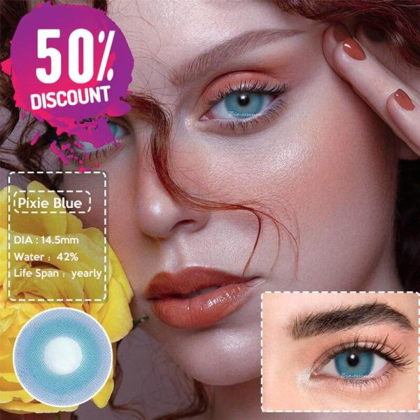 Prescription Colored Contacts For Myopia Bright Blue Green Color Contact Lenses-1 Year Use Eye Contact Lenses FREE SHIPPING 6