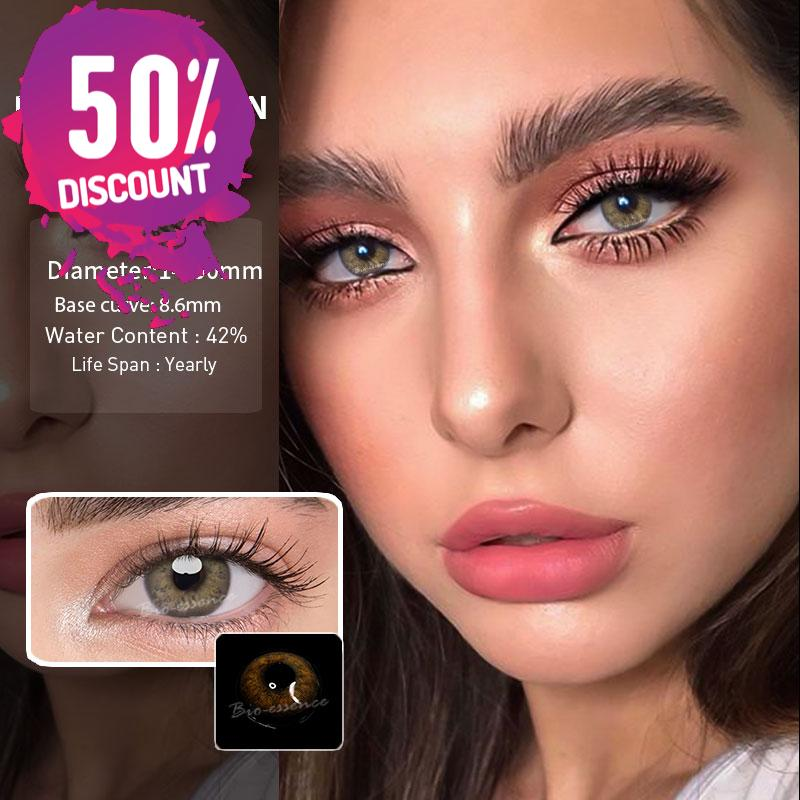 Prescription Colored Contacts For Myopia Russian Blue Brown Gray Eye Contact Lenses-1 Year Use