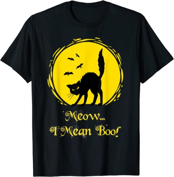 Meow I Mean Boo Cat T-Shirt For Halloween Anime Store FREE SHIPPING 3