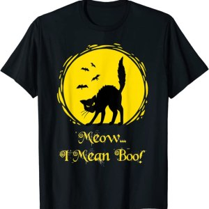 Meow I Mean Boo Cat T-Shirt For Halloween Anime Store FREE SHIPPING