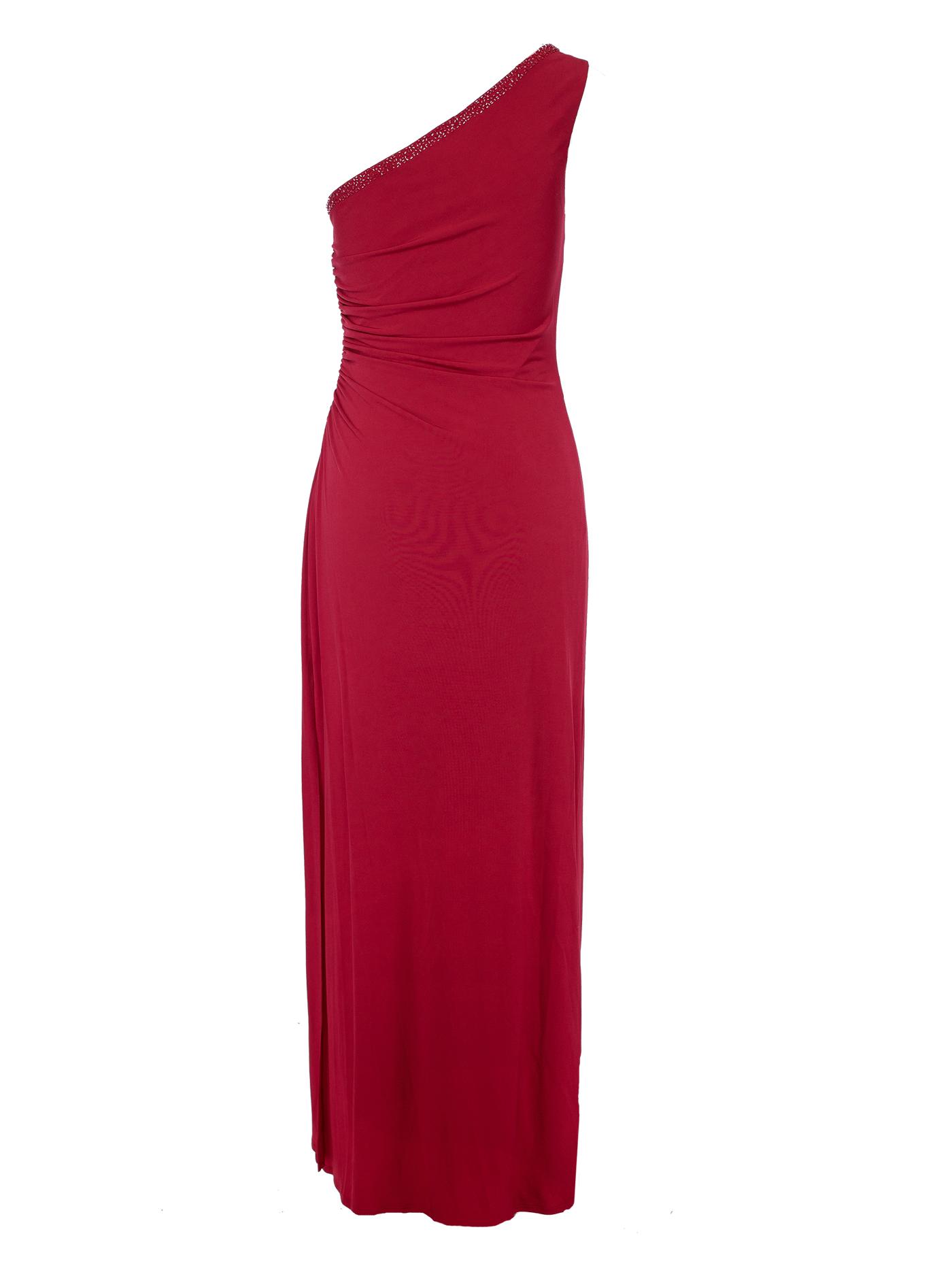 One Shoulder Long Red Cocktail Dress