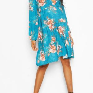 Maternity Floral Woven Smock Dress, Teal