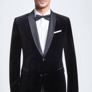 Veste de costume en velours Aris, noire