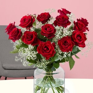 15 Rote Rosen mit Schleierkraut | Rosenstrauß online bestellen | Rosenversand Surprose.de