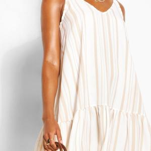 Tonal Stripe Frilled Hem Linen Look Beach Dress, Ivory