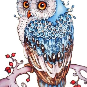 Happy Painter® Diamond Painting volwassenen Blauwe Uil - 30x40cm