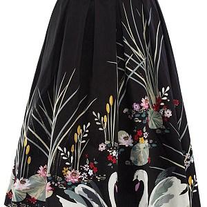 Inverted Pleat Printed Flared Midi Skirt