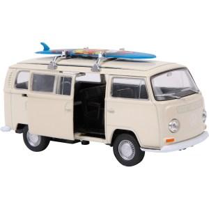 Modelauto Volkswagen bus T2 wit met surfplank 11 cm 1:34