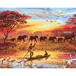 Schilderen op Nummer | Afrika 50x65cm - Op Lijst Gemonteerd