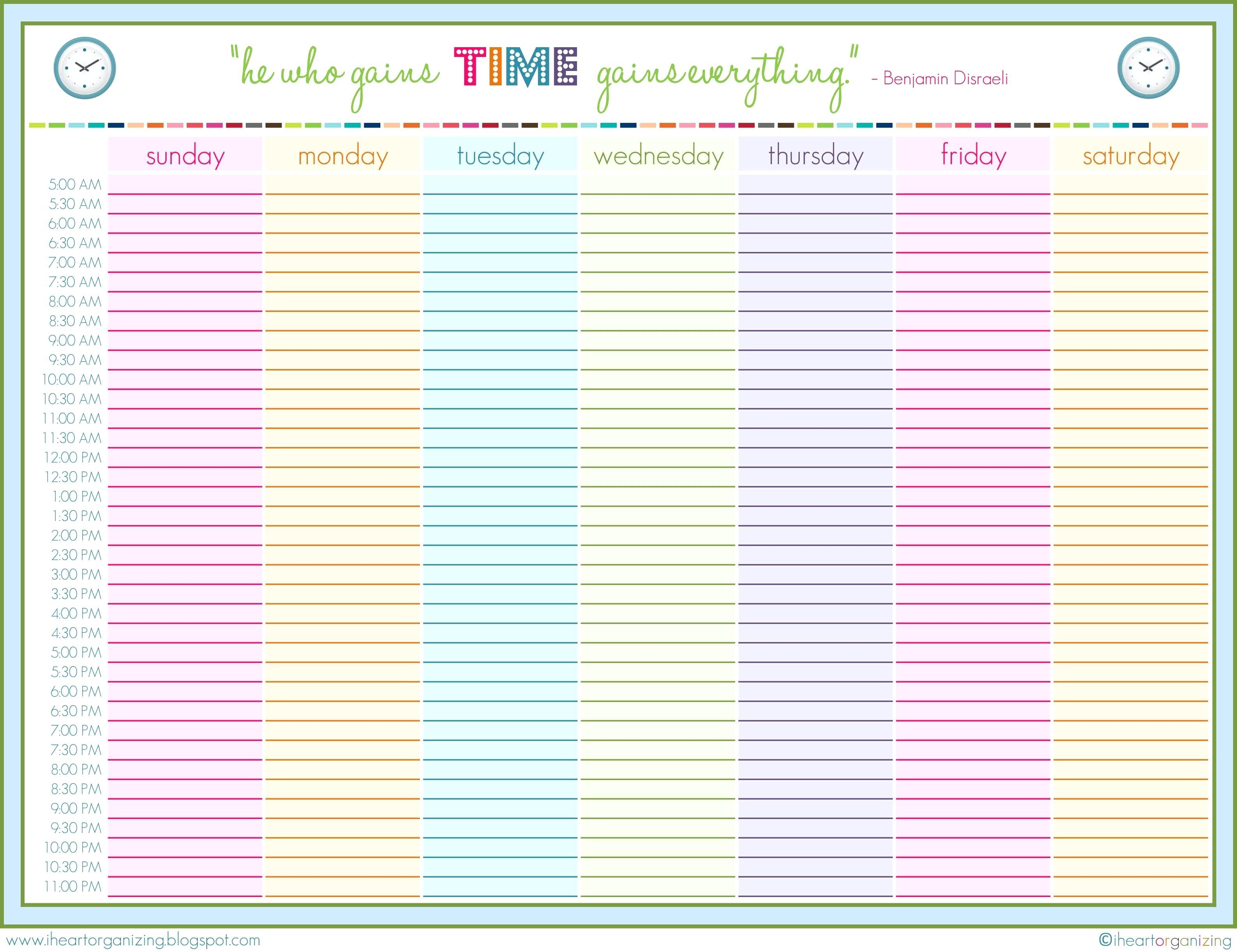 24 Hour Schedule Printable