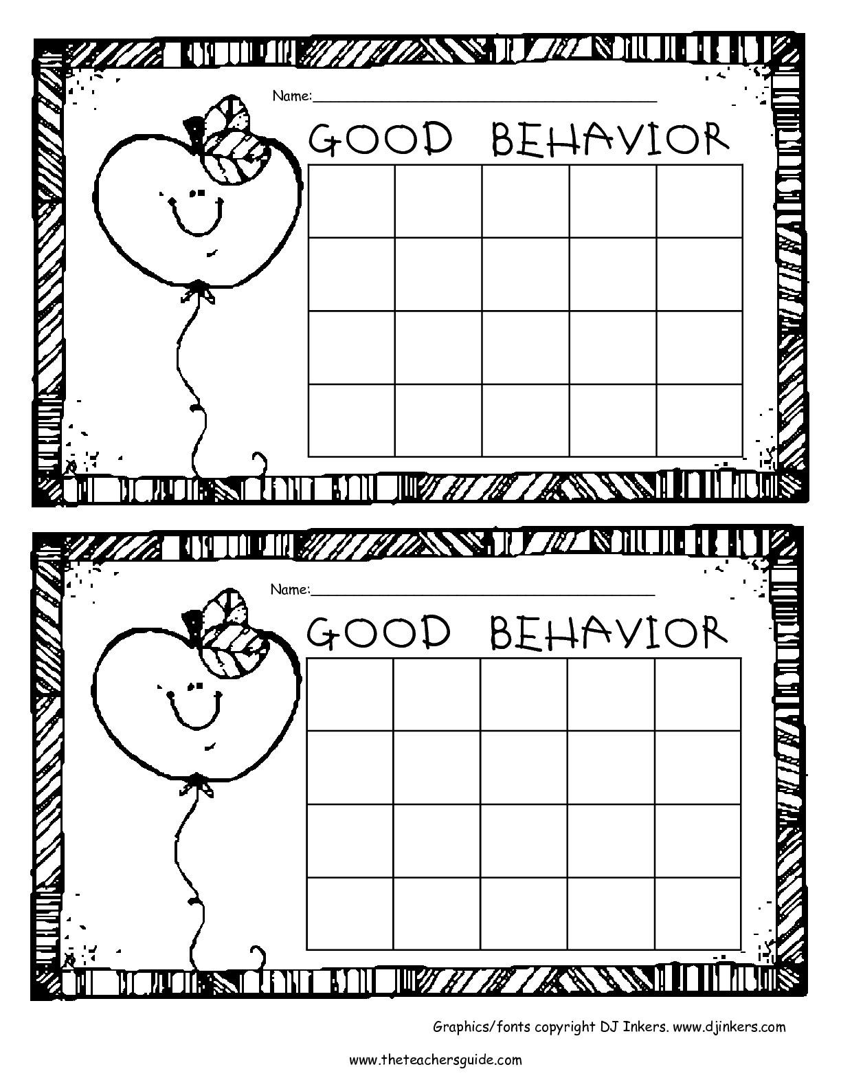 Behavior Sticker Chart Printable