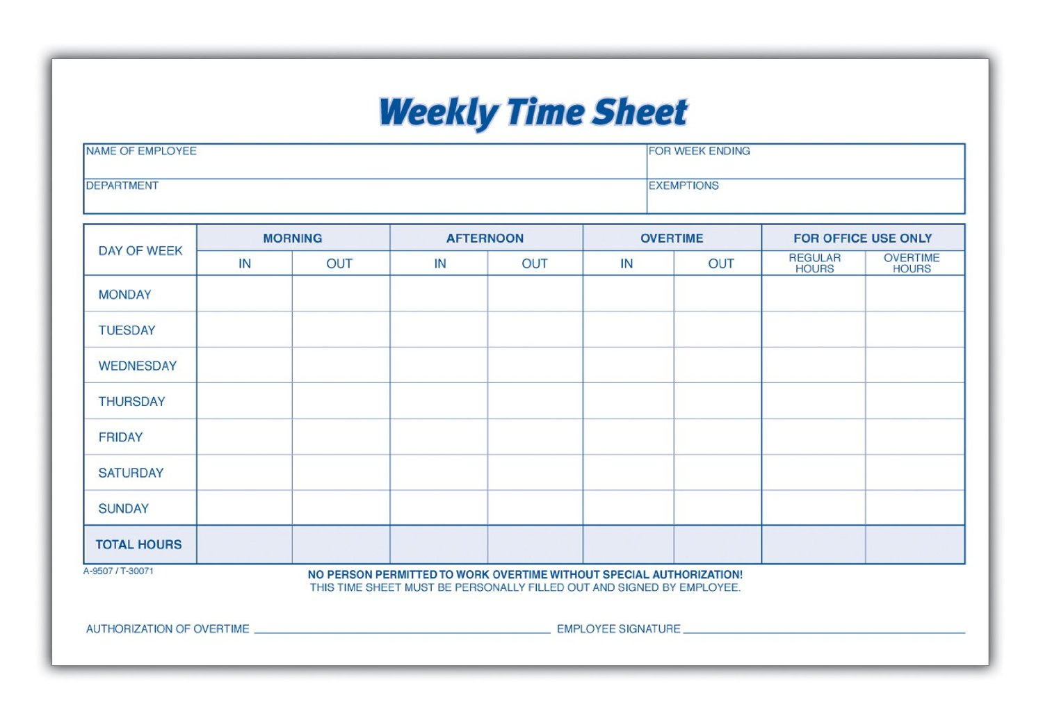 Employee Time Sheets Printable