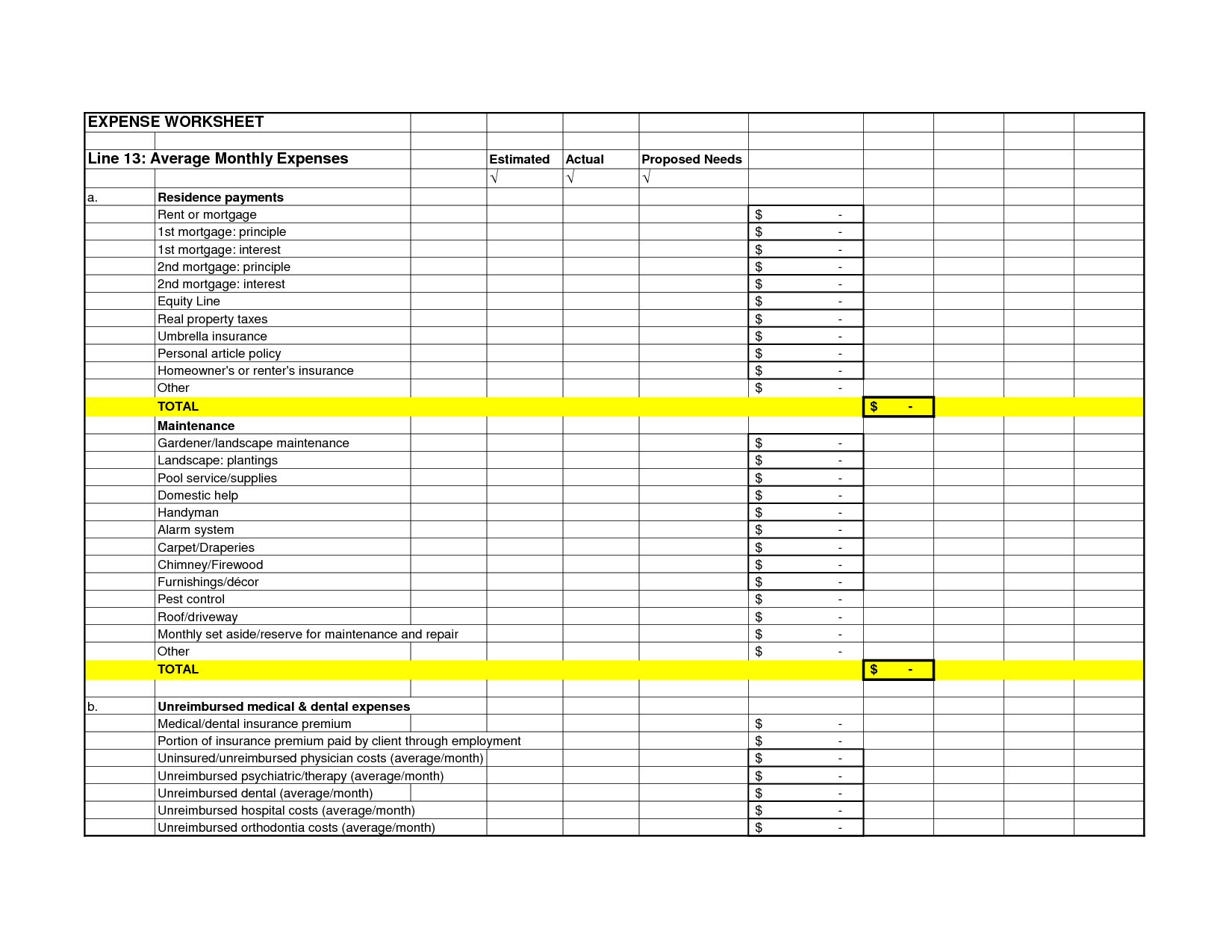Free Printable Monthly Business Expense Sheet