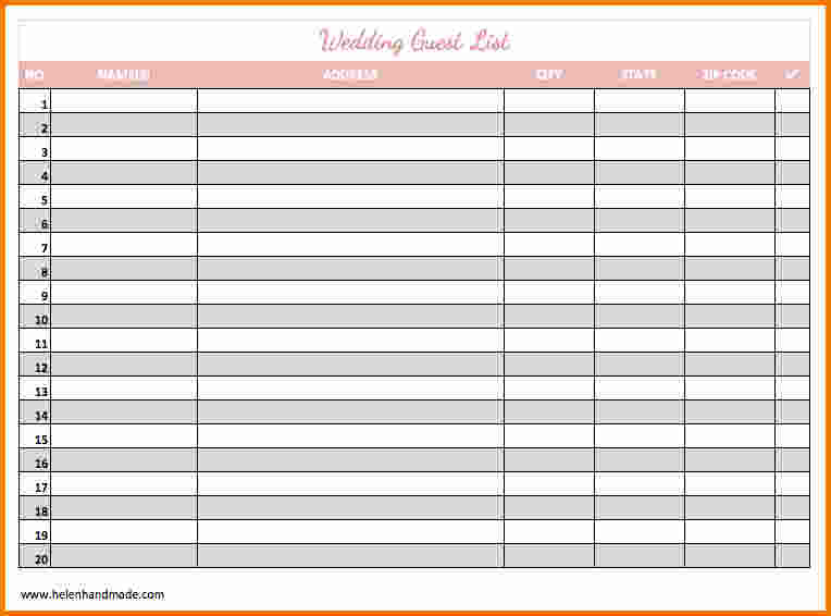 Free Wedding Guest List Printable