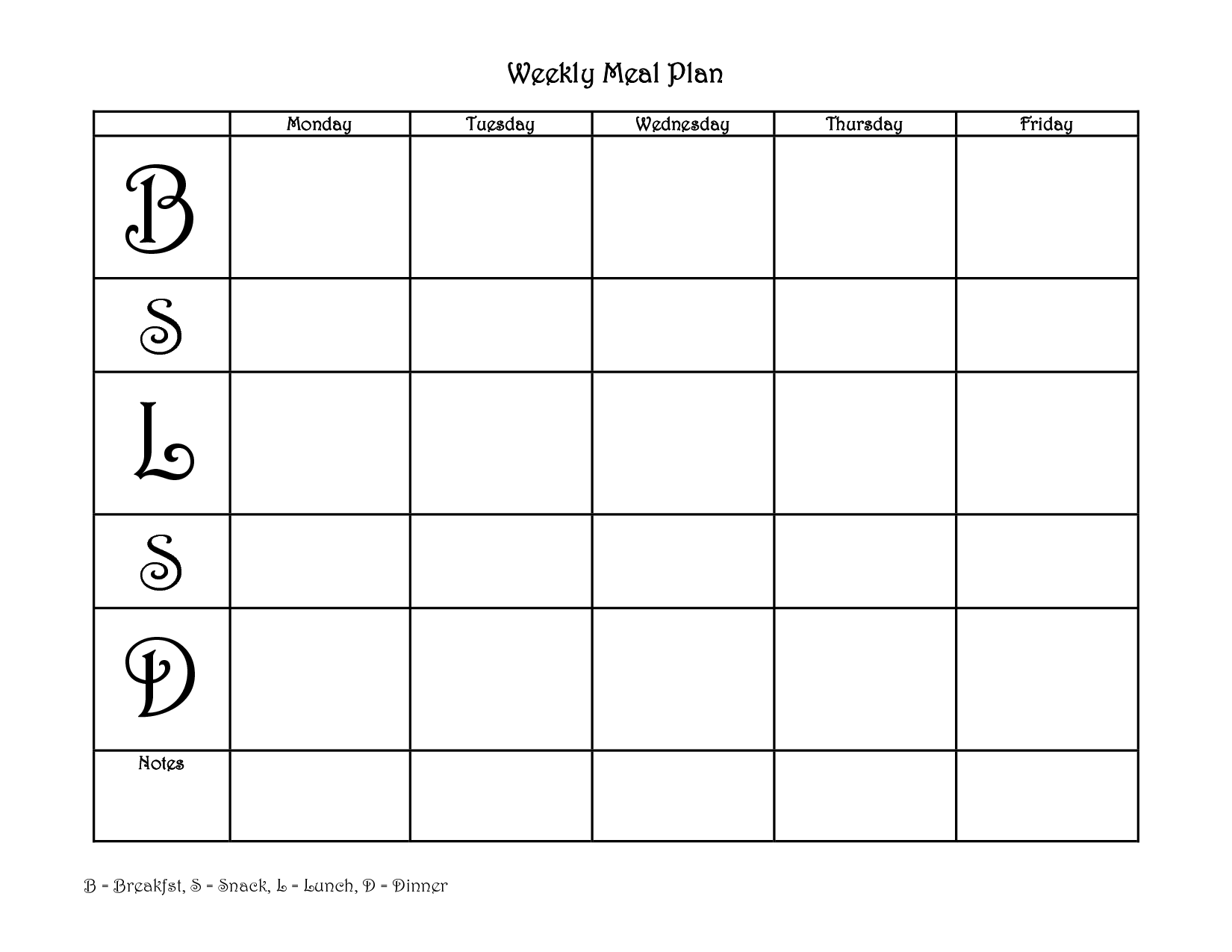 Printable Weekly Meal Planner With Snacks