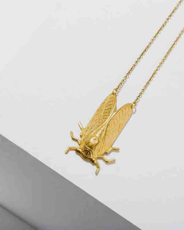 Brass necklace with a cicada on then end