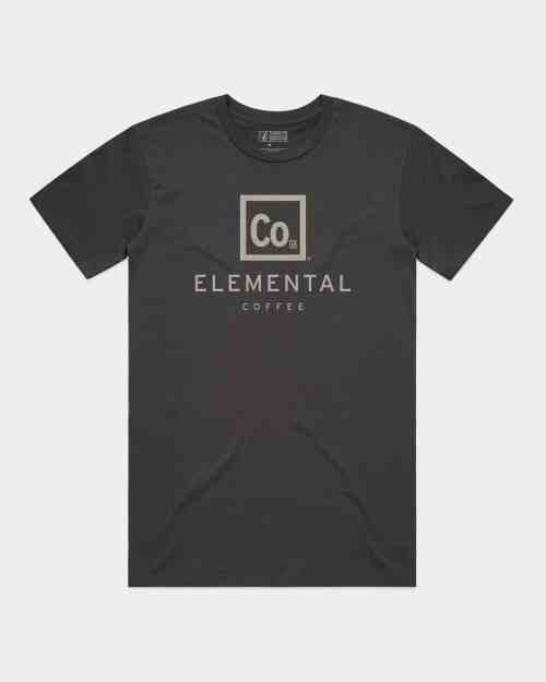 Dark grey tee shirt with the Elemental Coffee Roasters logo