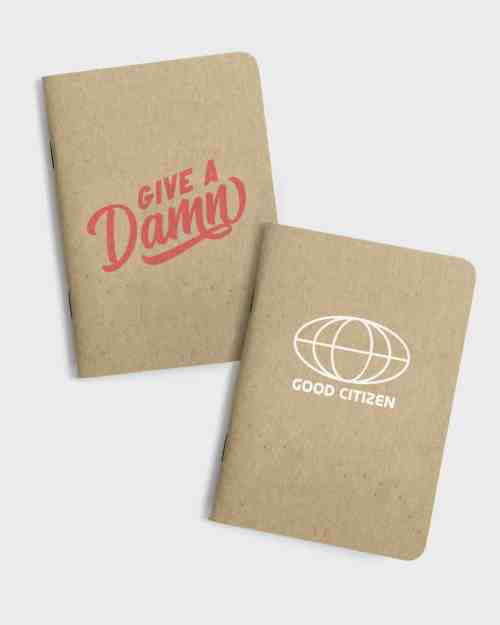 Set of 2 small kraft paper notebooks. Both with screen printed covers, the first with a give a damn graphic, the second with good citizen globe graphic