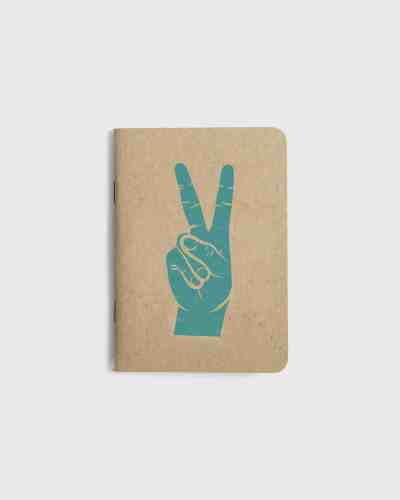 Small kraft paper notebook with screen printed cover. Peace hand sign graphic printed in teal ink.