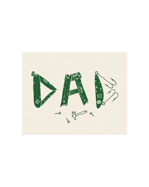 A white paper card with a green art print that says Dad made out of tools and gadgets.