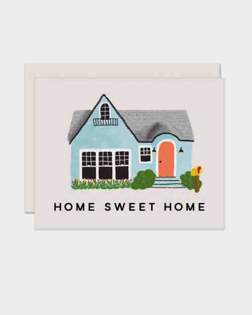 White card that says 'home sweet home'