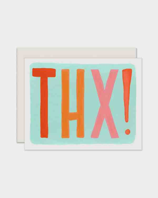 Blue card that says 'THX!' in colorful letters