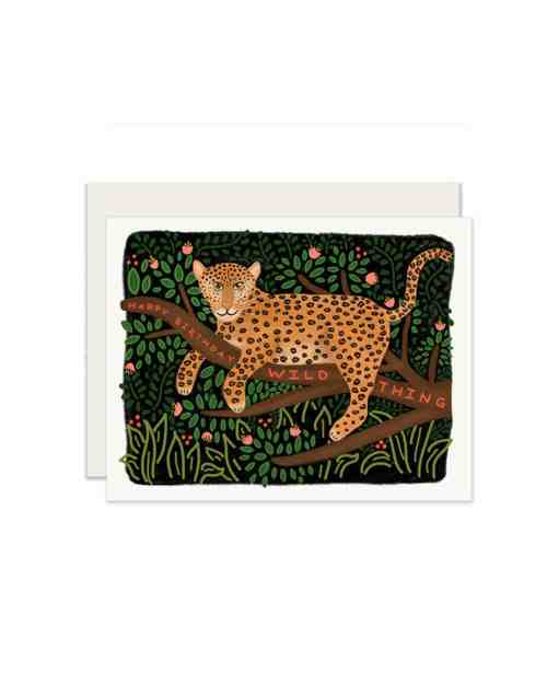 A card with a jaguar sitting on a tree on the front that says 'Happy Birthday Wild Thing.'