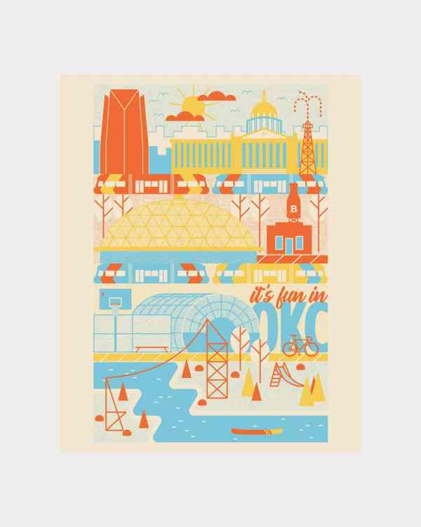 A yellow, orange and blue art print of the Oklahoma City Skyline that says 'It's fun in OKC.'