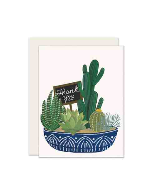 A white card with a succulent plant on the front that says 'Thank you.'