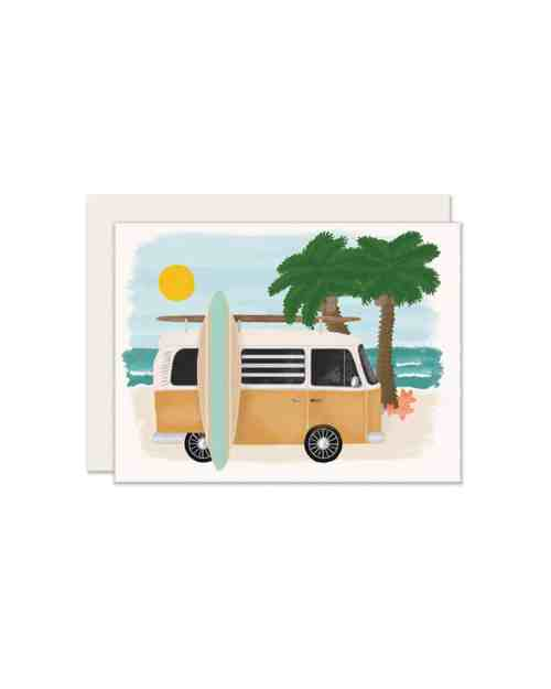 A white card that has a surf van on it