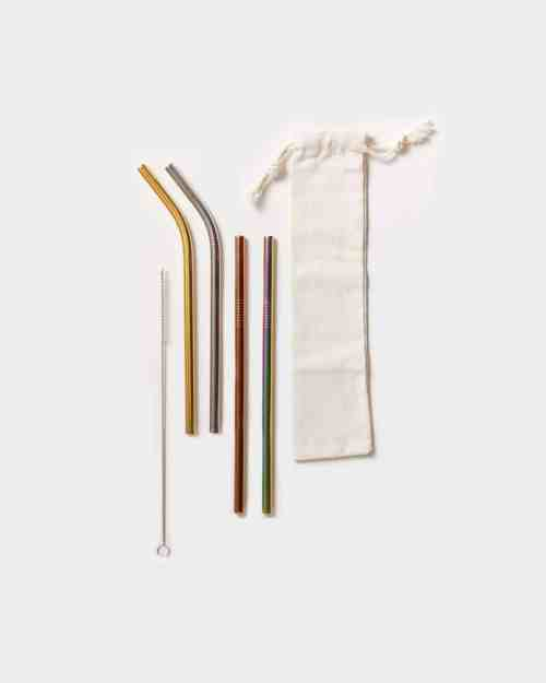 4 rainbow stainless steel straws with cloth pouch