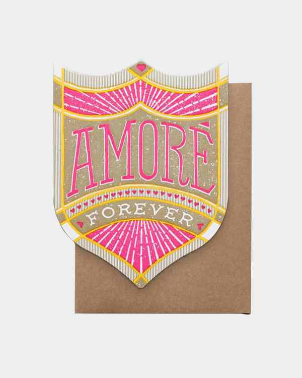 A brown, yellow and pink card that says Amore Forever