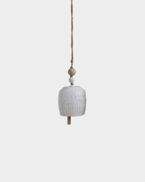 Beaded White Stoneware Hanging Bell - Cup
