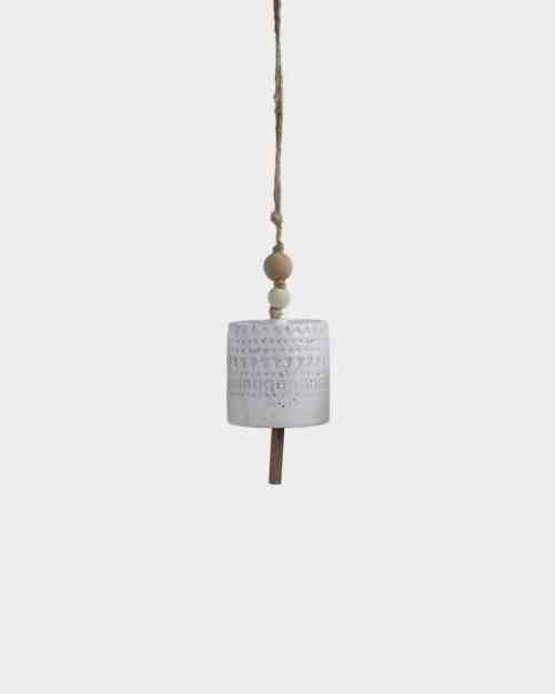 Beaded White Stoneware Hanging Bell - Cylinder