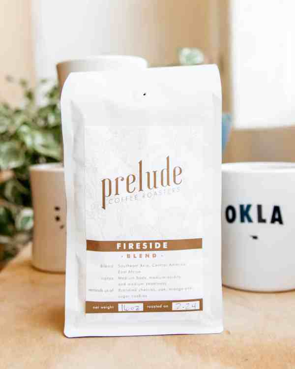 White bag of coffee beans