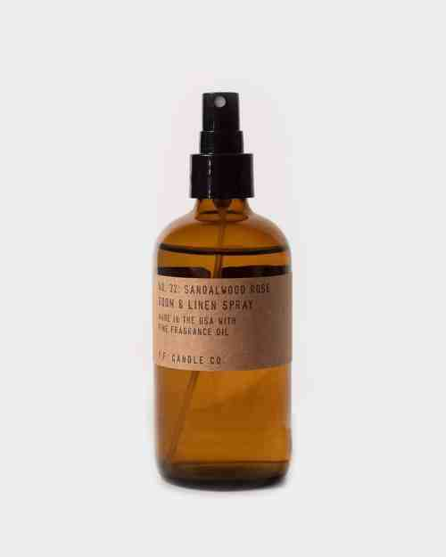 Brown bottle of Sandalwood room spray