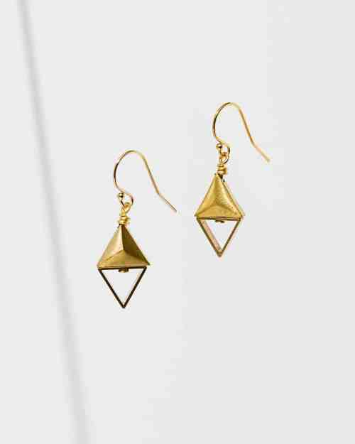 Gold earrings with triangle shapes