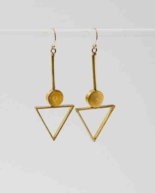 brass plated earrings in the shape of triangles