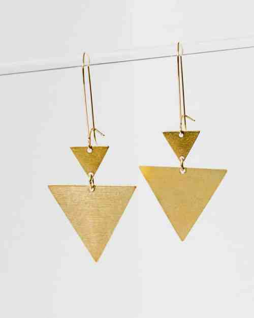 brass triangular earrings