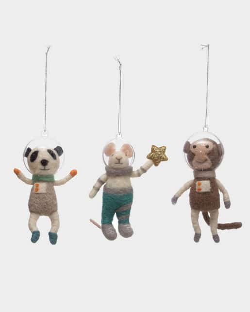 Wool Felt Animal Astronaut Ornament