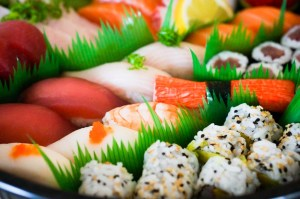 Sushi plate with cooked rice