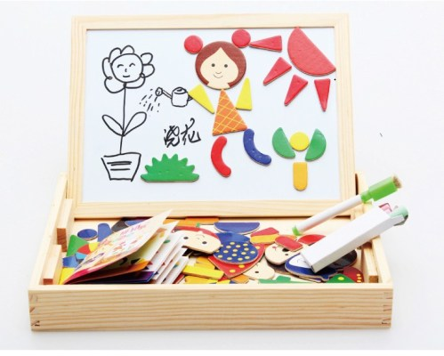 Magnetic-Wooden-Educational-Toys-For-Child-Double-faced-3d-Puzzle-Baby-Gift-Free-Shipping