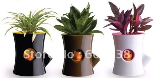 2-pieces-Original-Log-and-Squirrel-Self-Watering-Flower-Pot-Squirrel-Plant-Pot