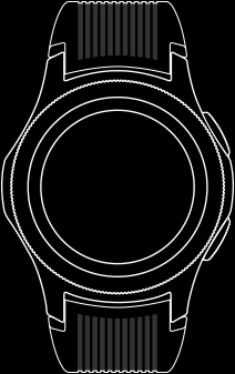 Line drawing of front view of the Galaxy Watch 46 mm with watch straps fastened.
