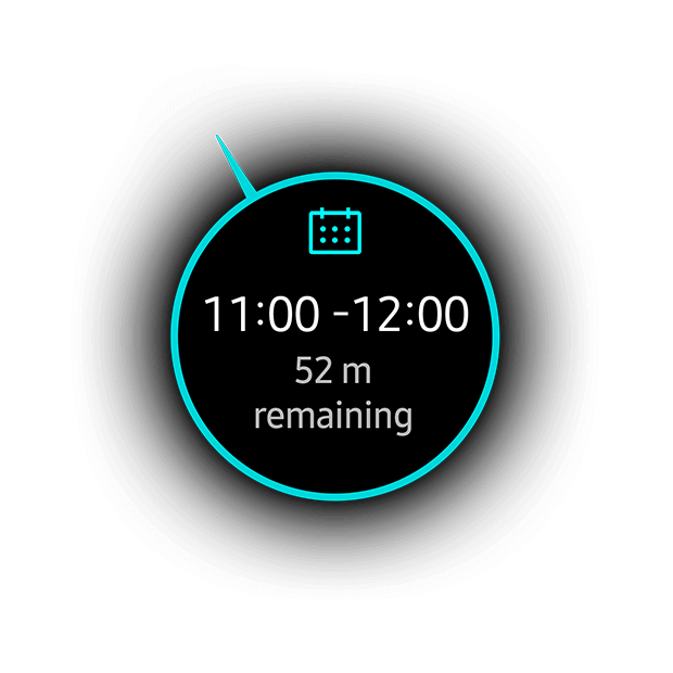 My Day watchface closeup on black background showing appointments for the day along with the current appointment and time remaining.