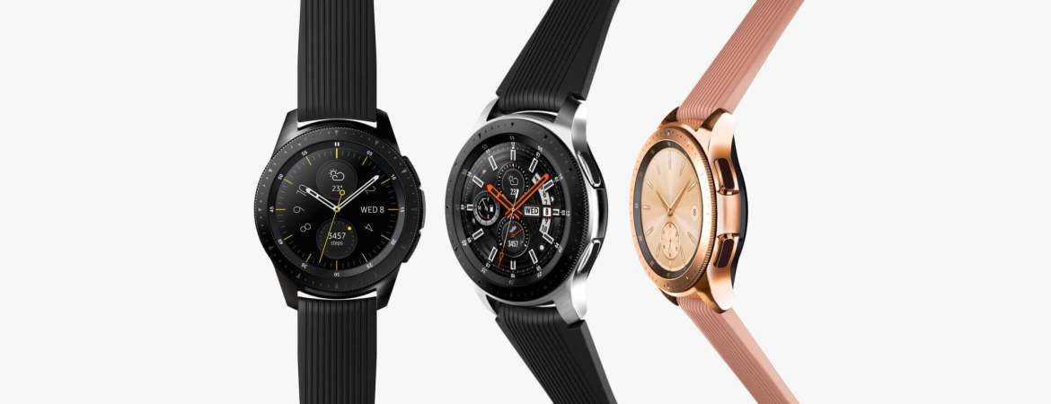 Three Galaxy Watch models in parallel: 42mm in Midnight Black on the left, 46mm in Silver in the middle, 42mm in Rose Gold on the right.