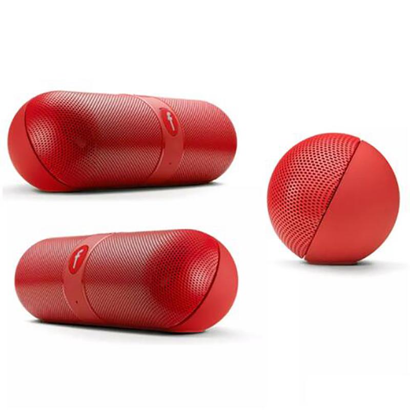 Pill Shaped Super Bass Speaker red