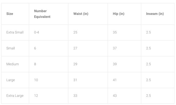 Fleo Shorts Size Chart