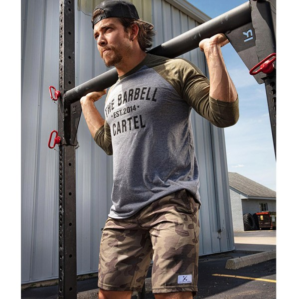 The Barbell Cartel 3/4 Baseball Tee OD Green